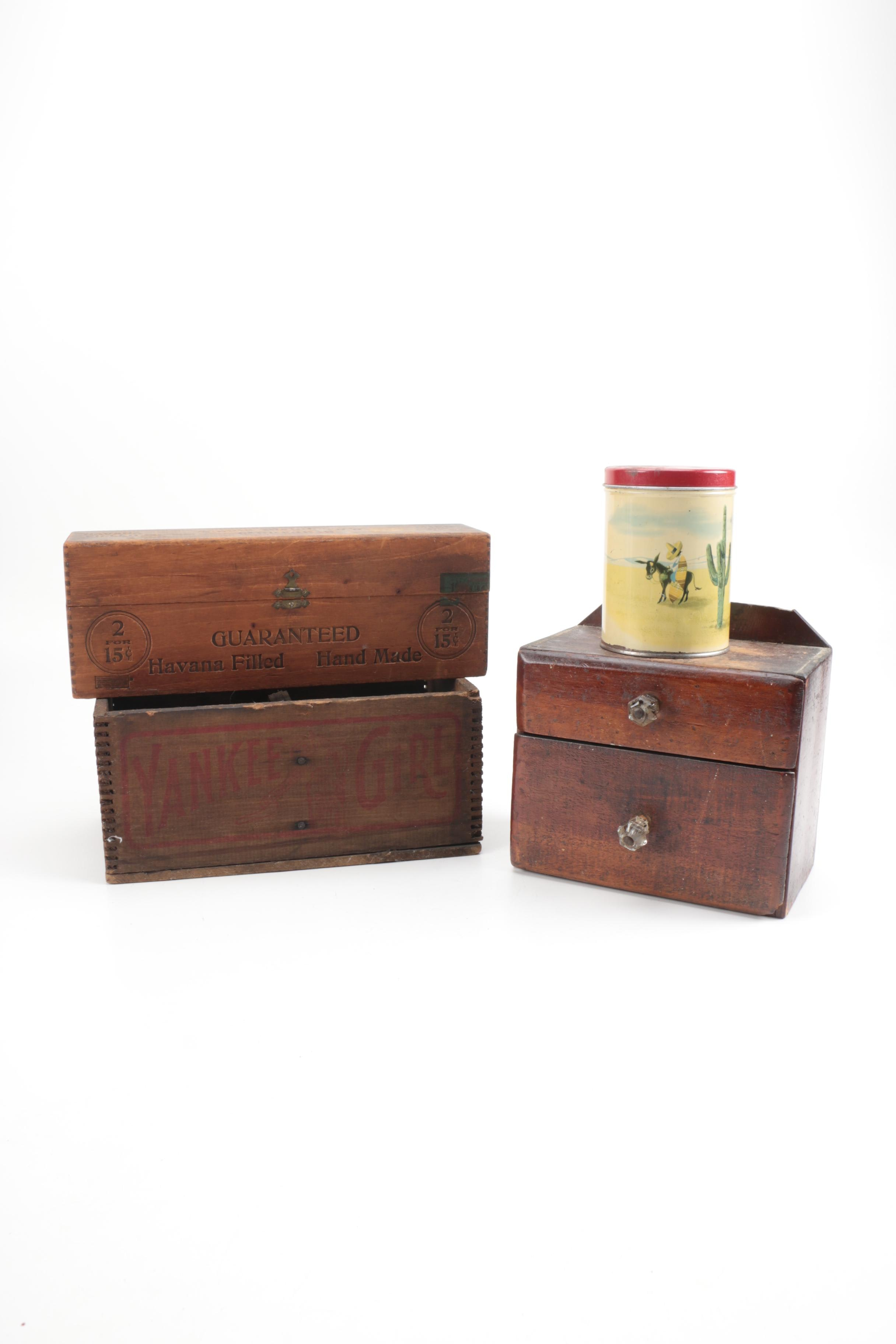 Collection of Wooden Boxes and Southwest-Themed Tin