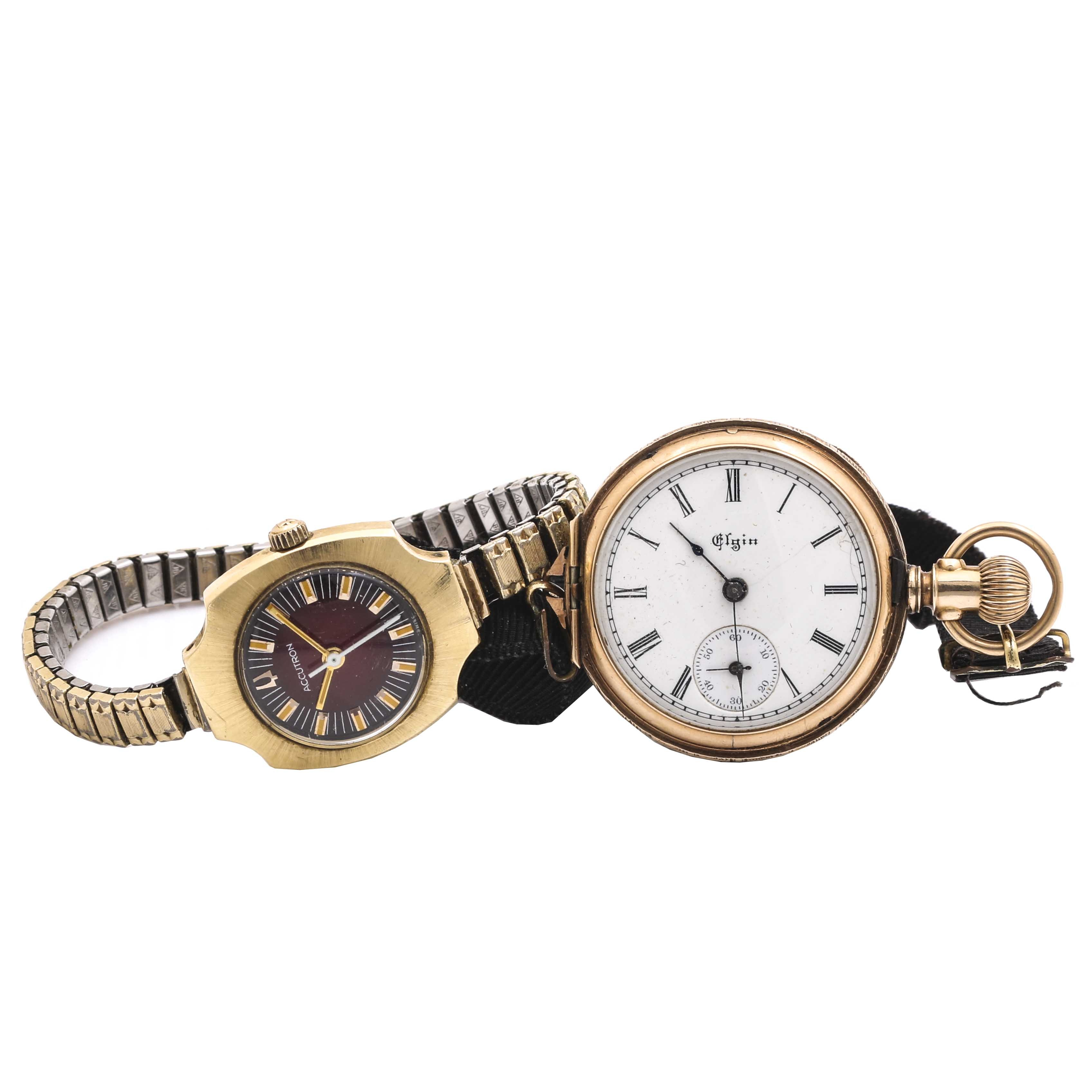 Selection of 14K Yellow Gold Elgin Convertible and Bulova Accutron Wristwatch