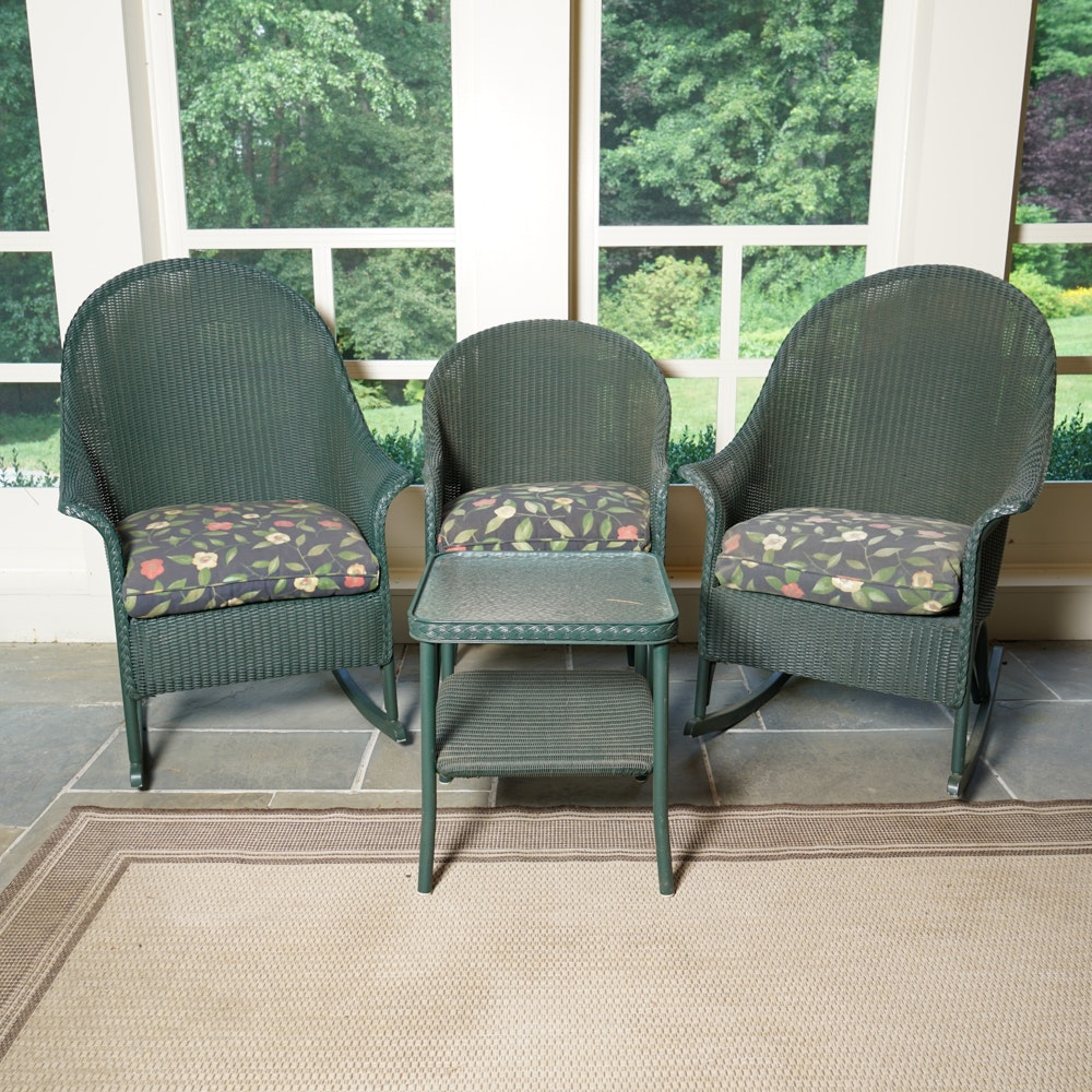 Green Wicker Patio Rocking Chairs and Arm Chair With Side Table