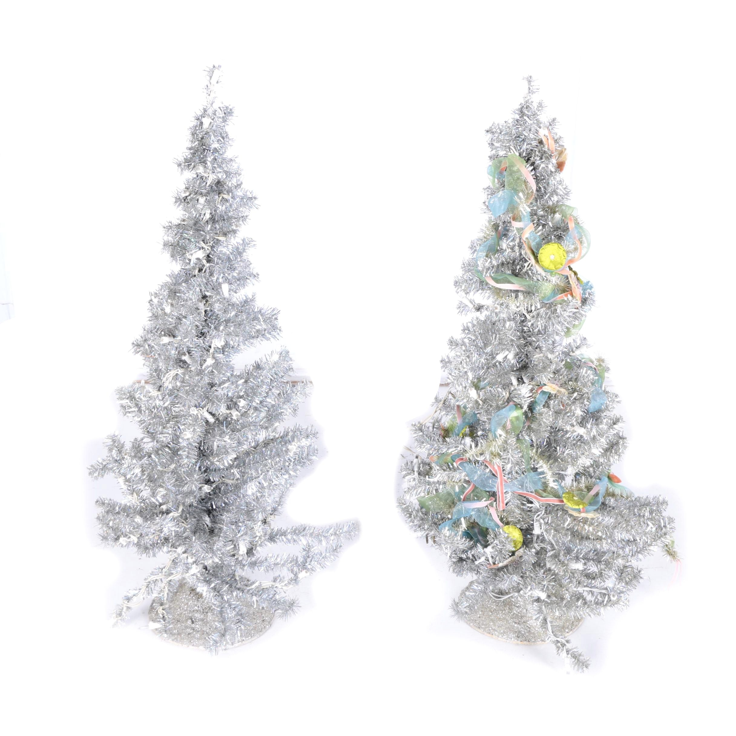 Pair of Silver Tinsel Christmas Trees