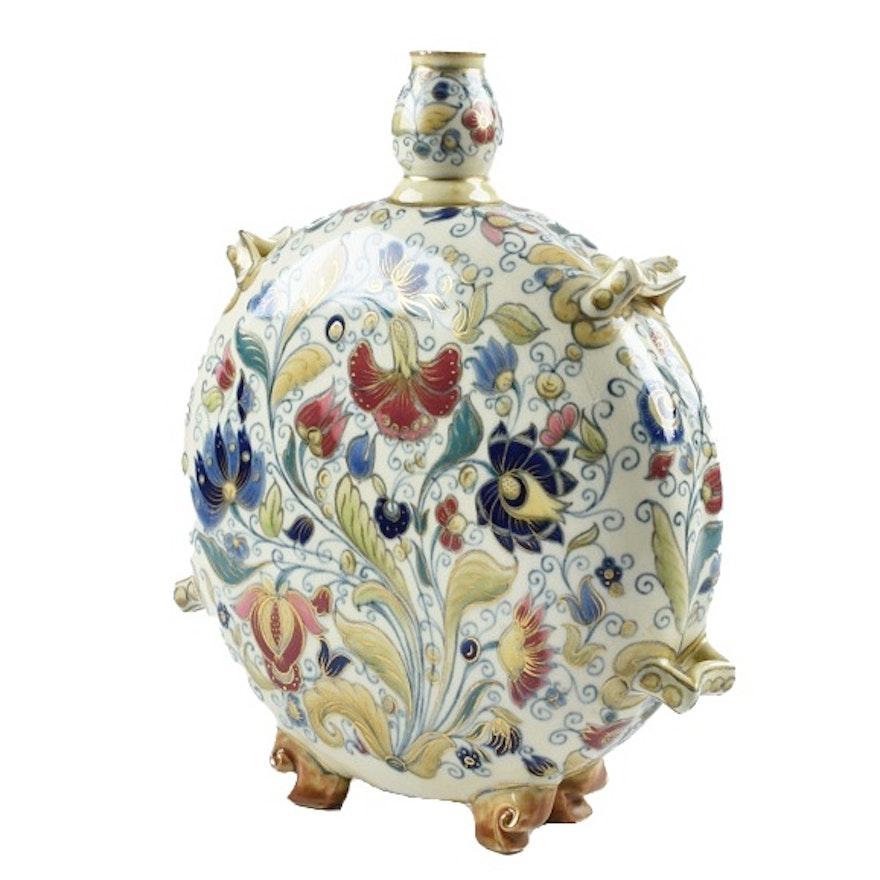19th-Century Zsolnay Ceramic Moon Vase