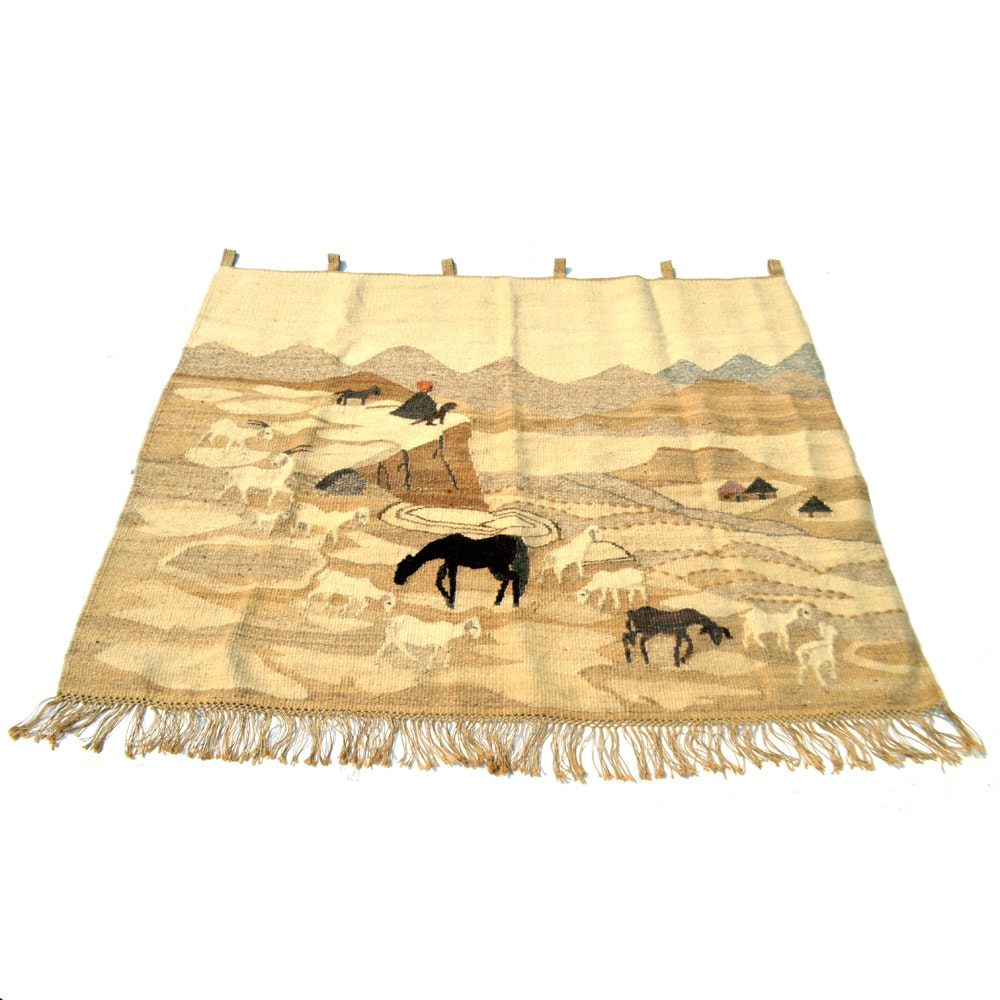 Handwoven Setsoto Design Lesothan Pictorial Area Rug/Wall Hanging