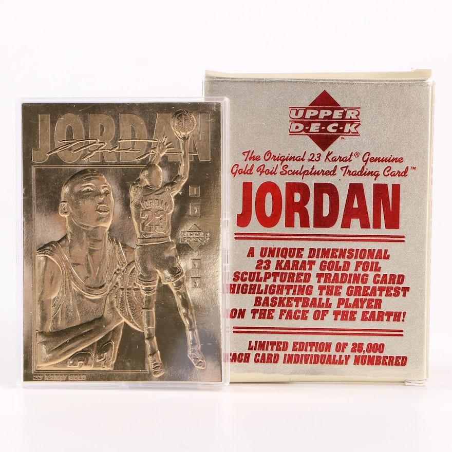 18a9a528206 Michael Jordan Upper Deck 23kt Gold Foil Sculptured 1995 Trading Card   EBTH