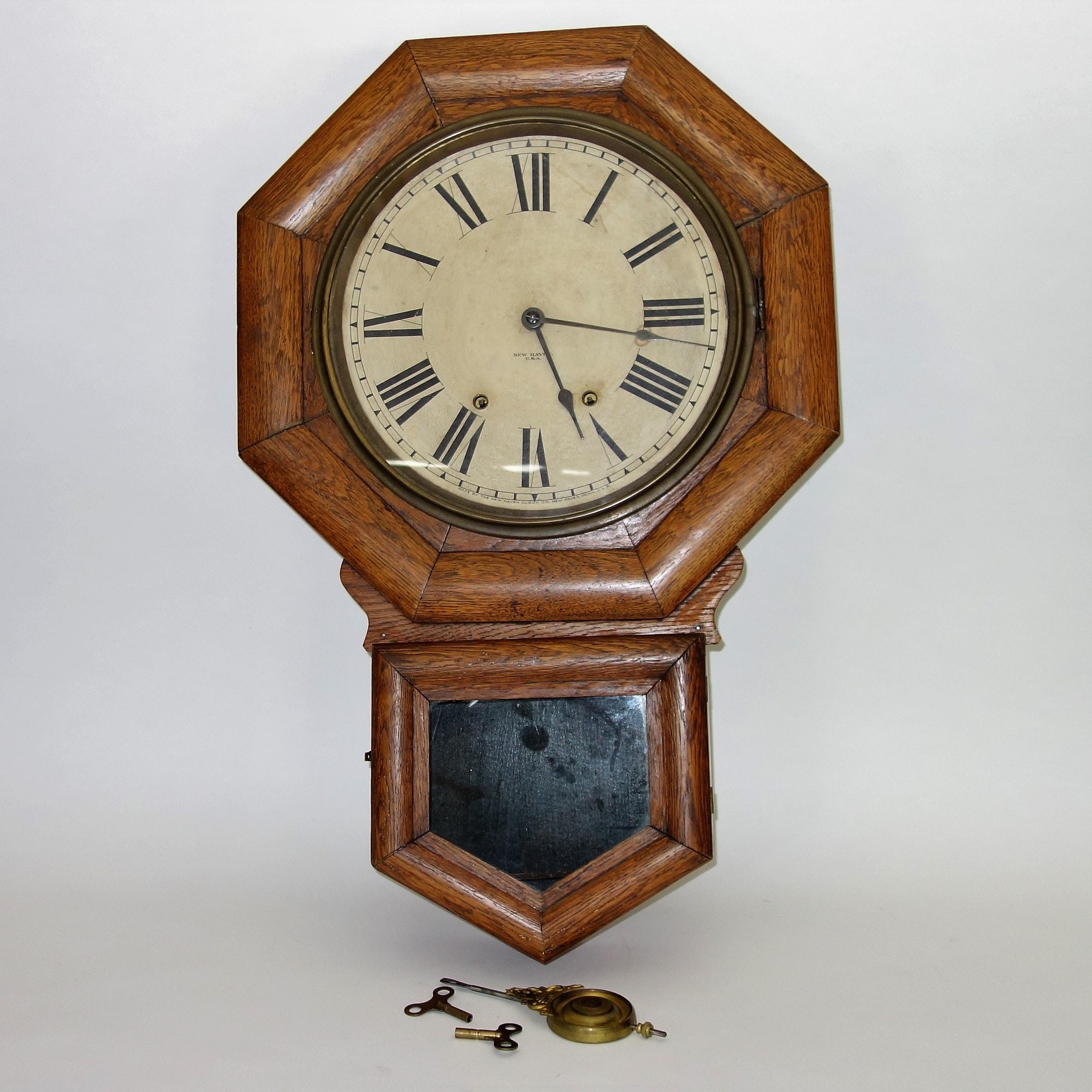 Antique Oak New Haven Wall Clock