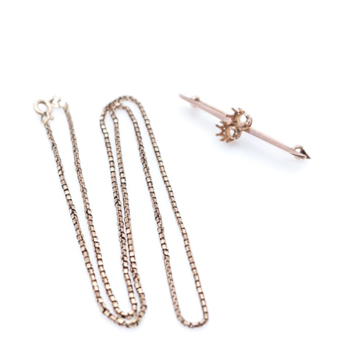 8K and 14K Rose Gold Brooch and Necklace