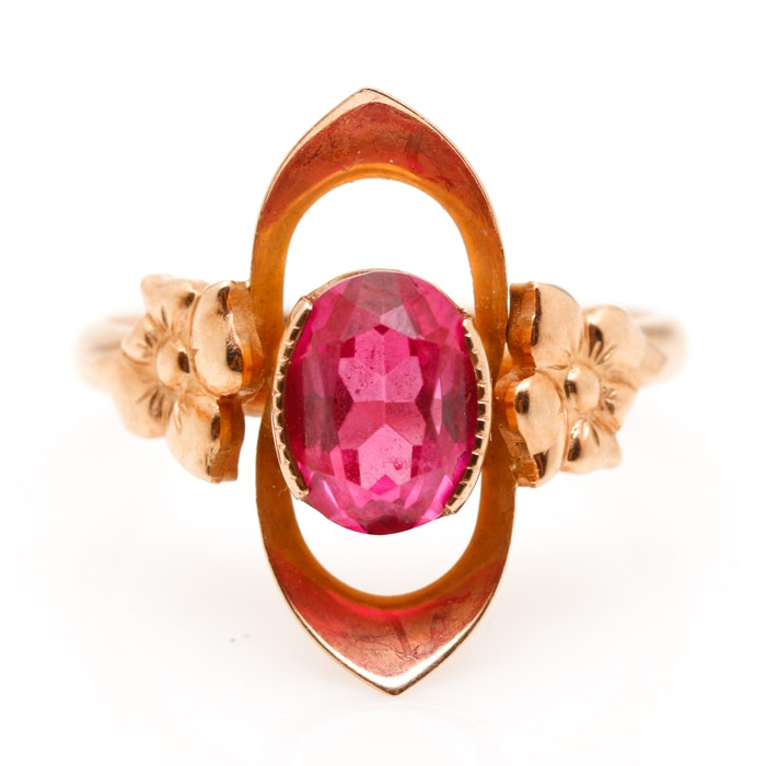 Russian 14K Yellow Gold Ruby Floral Ring
