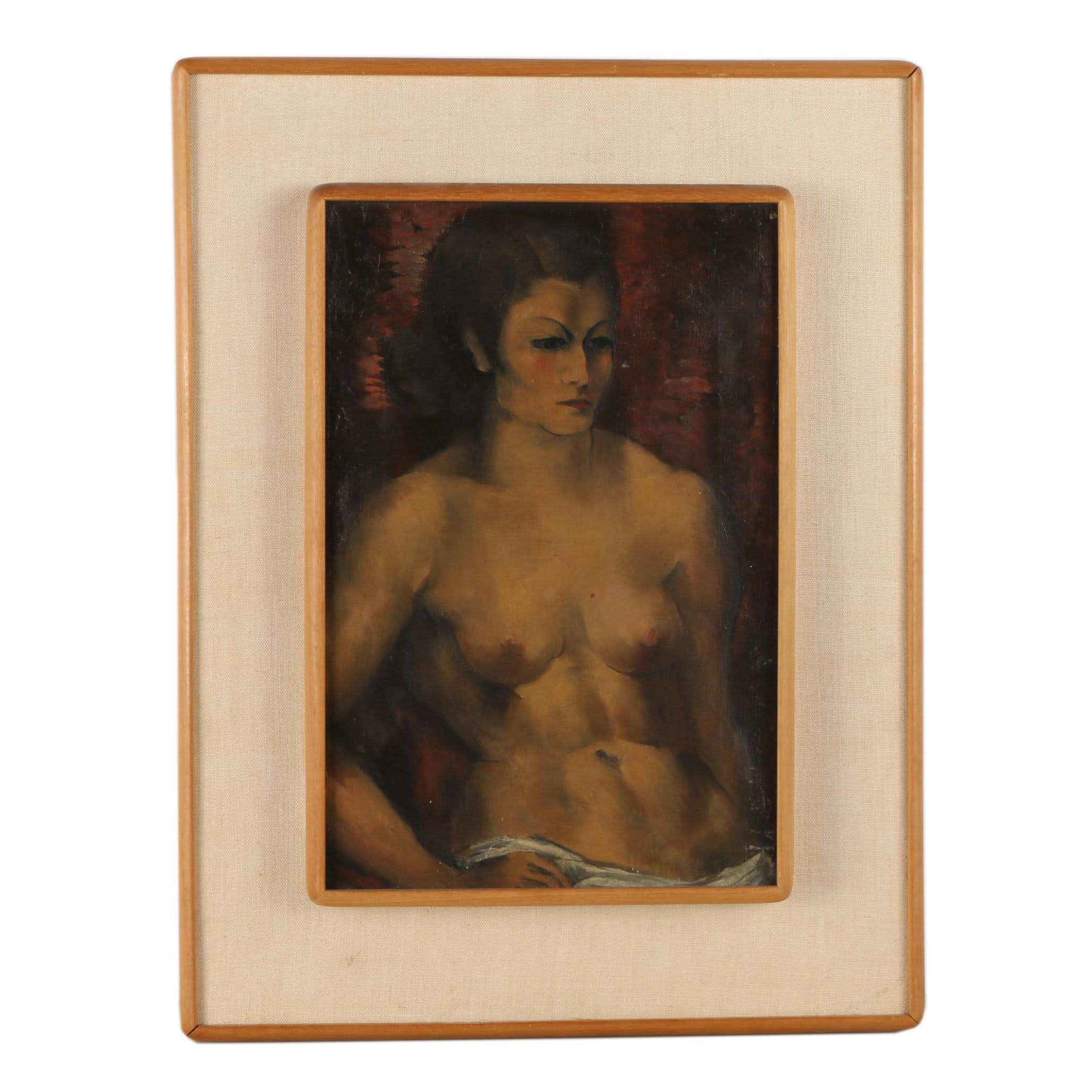 Attributed to Abraham Baylinson Oil Painting on Canvas of Figure Study