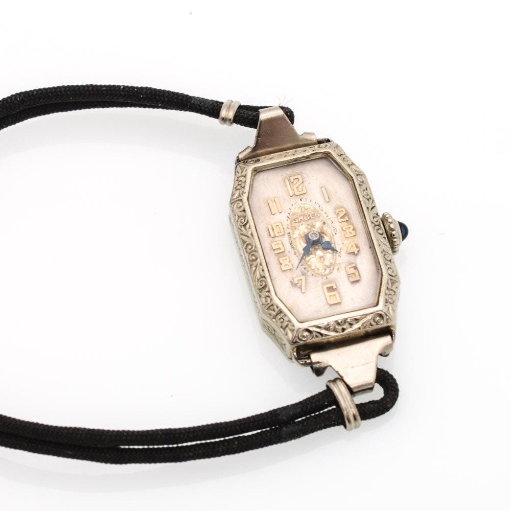 Antique Gruen 14K White Gold Wristwatch