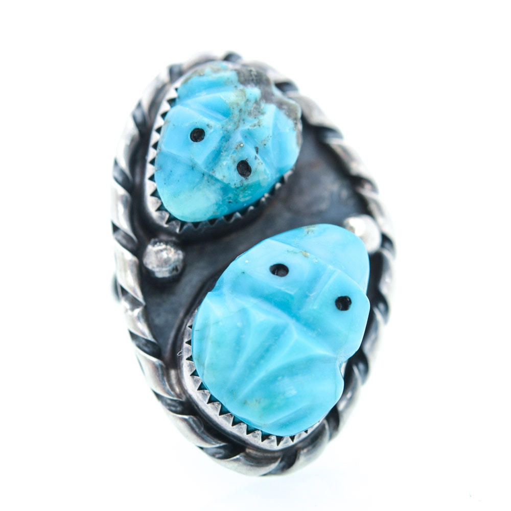 Sterling Silver Turquoise Frog Ring