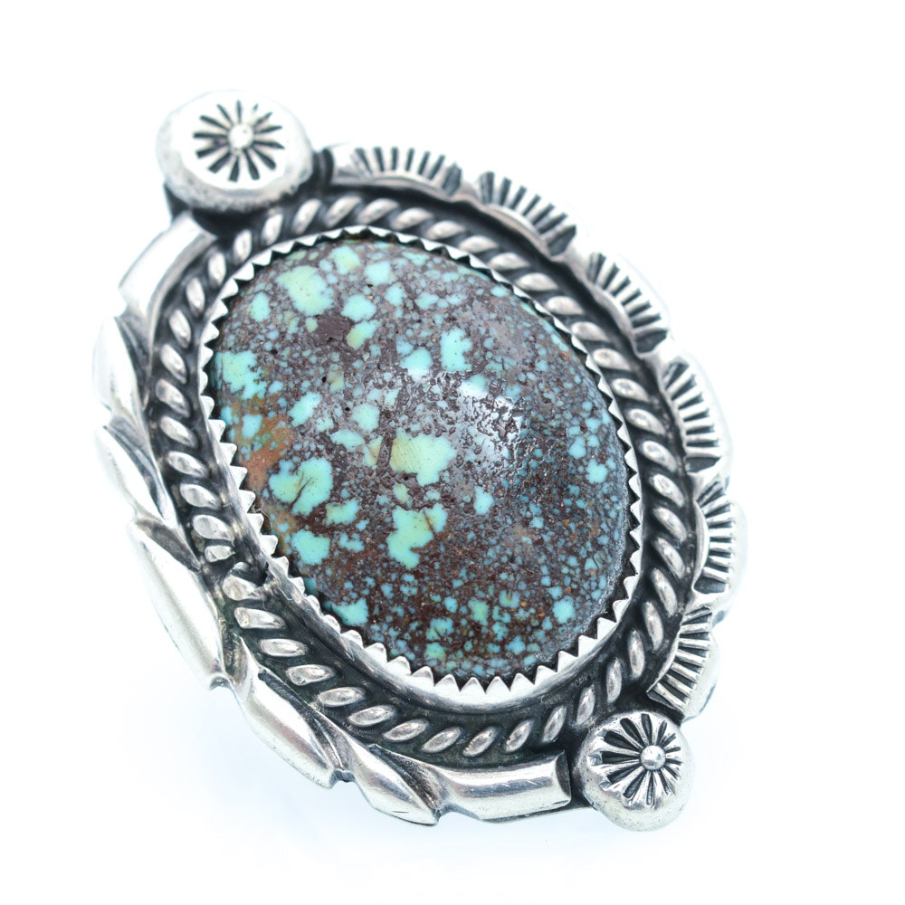 Vintage W. Yazzie Sterling Silver Turquoise Ring