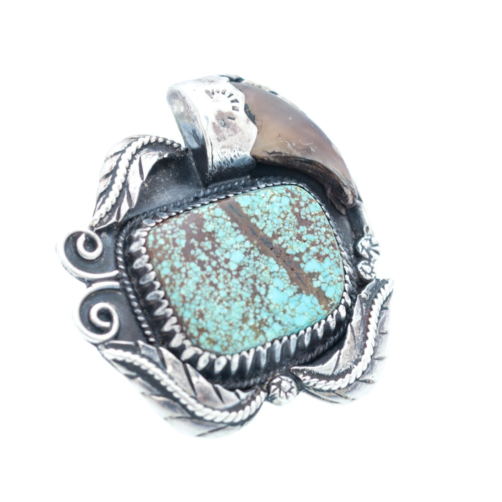Vintage Signed Sterling Silver Turquoise and Claw Ring