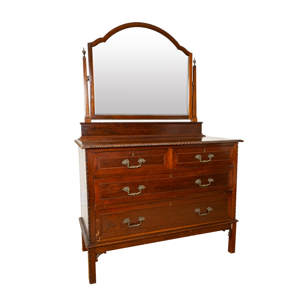 Vintage Two-Over-Two Mahogany and Tiger Maple Dresser with Mirror