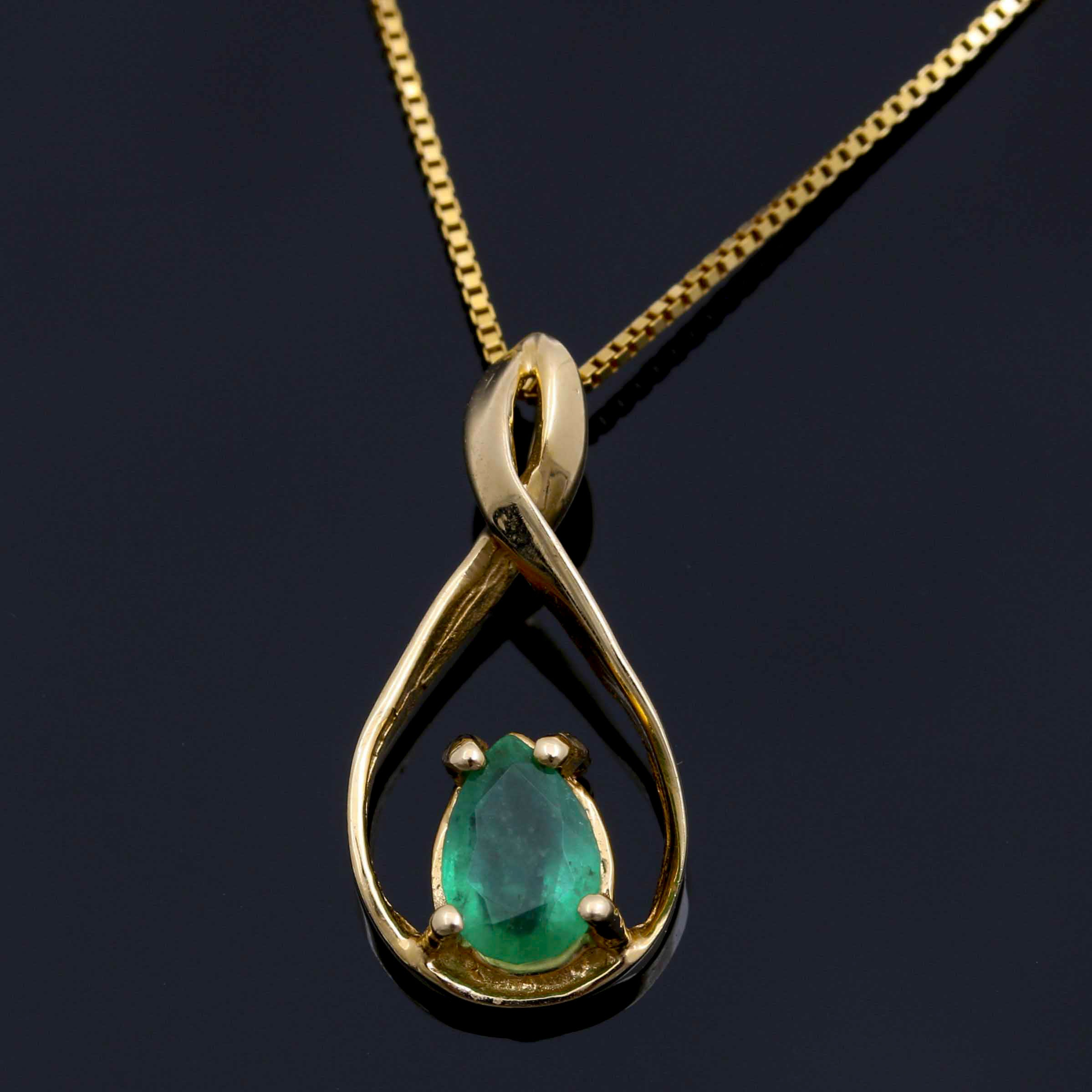 10K and 14K Yellow Gold Emerald Pendant Necklace