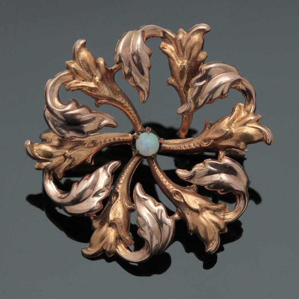Art Nouveau 14K Two Tone Gold Opal Openwork Foliate Brooch