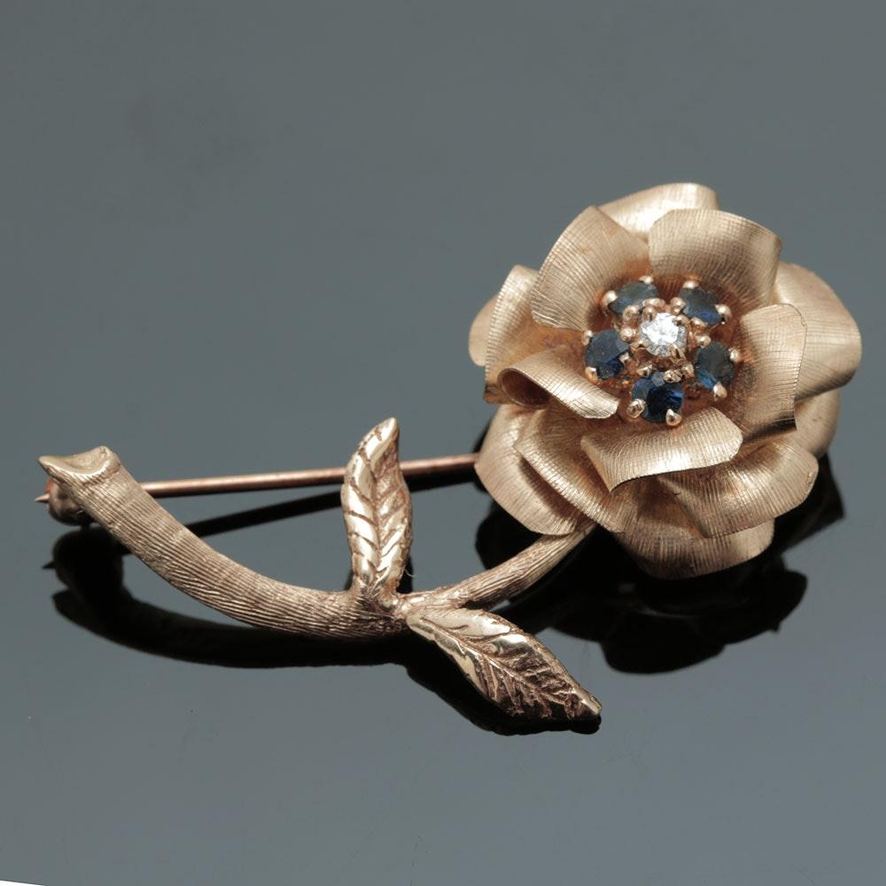 14K Yellow Gold Sapphire and Diamond Flower Brooch