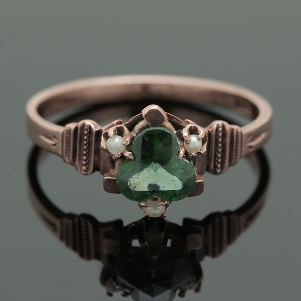 9K Yellow Gold Late Victorian Antique Gemstone Ring