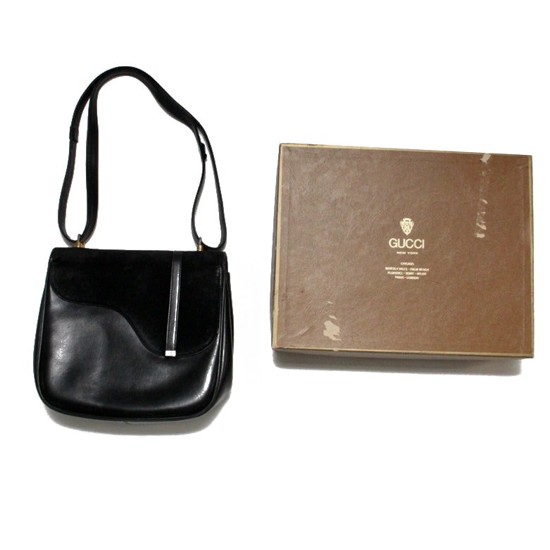 Vintage Black Leather and Suede Gucci Purse with Original Box