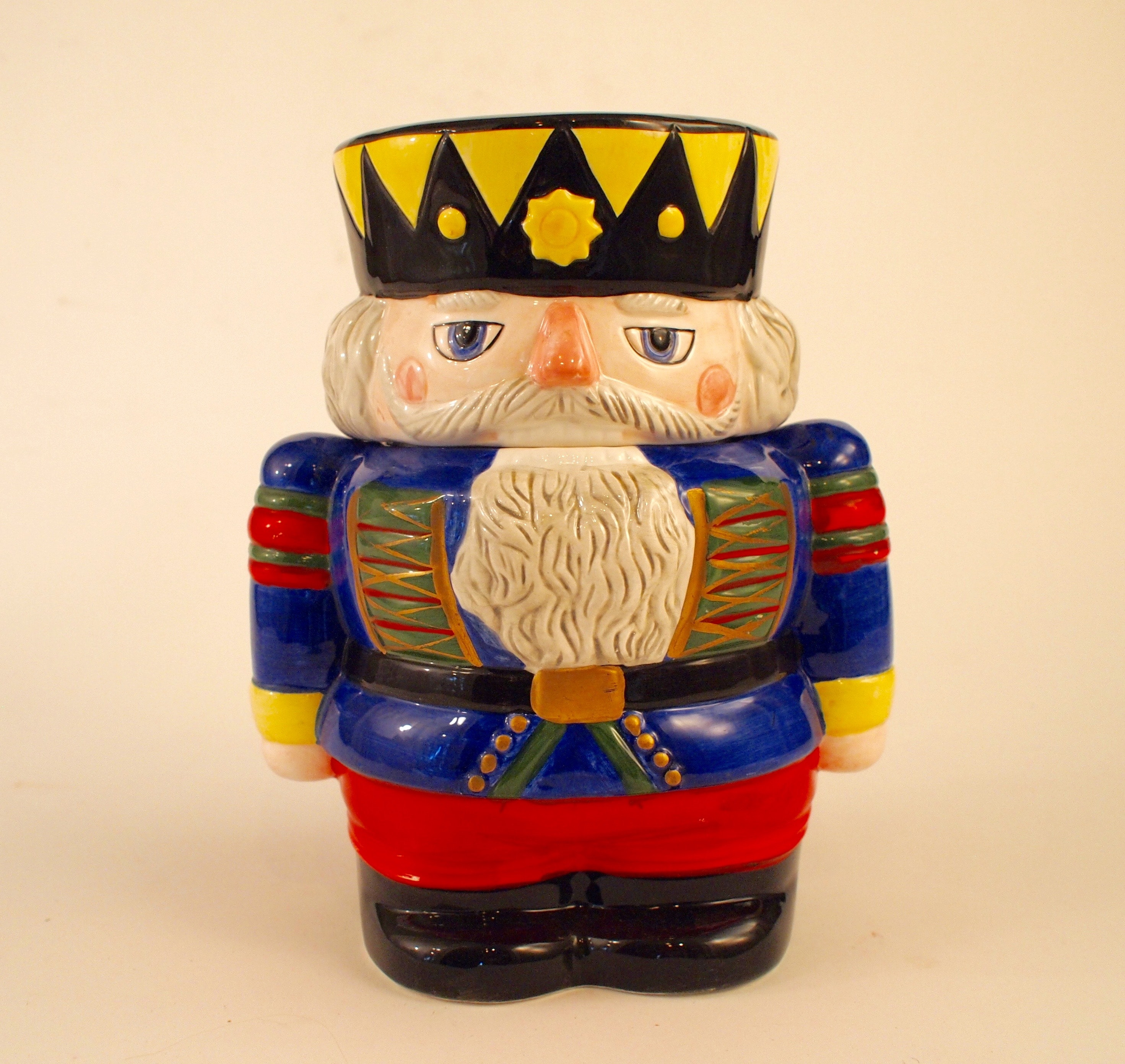 Vintage Block Ceramic Nutcracker Cookie Jar