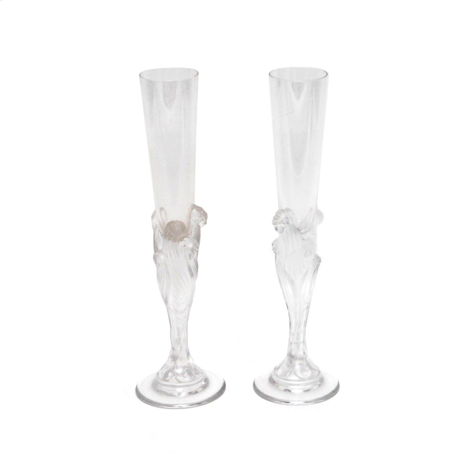 Pair of Erte' Champagne Flutes