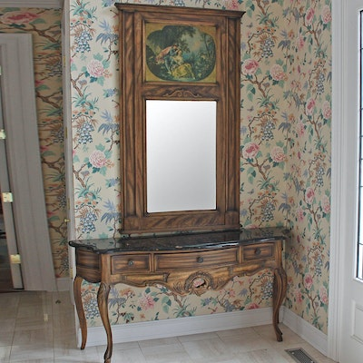 Louis XV Style Hall Table by Century Furniture with Trumeau Mirror. Online Furniture Auctions   Vintage Furniture Auction   Antique