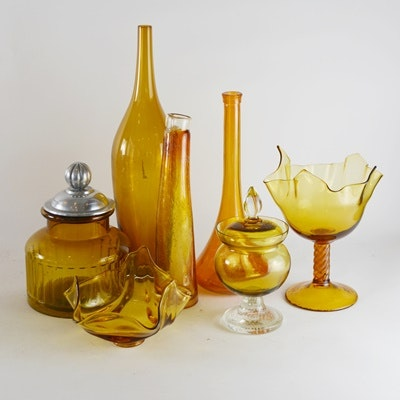 Vintage Amber Glass Decor Collection