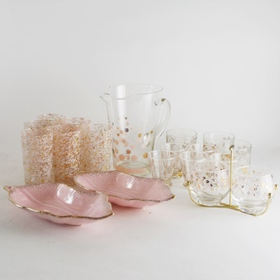 Vintage Pink Glassware and Barware Set