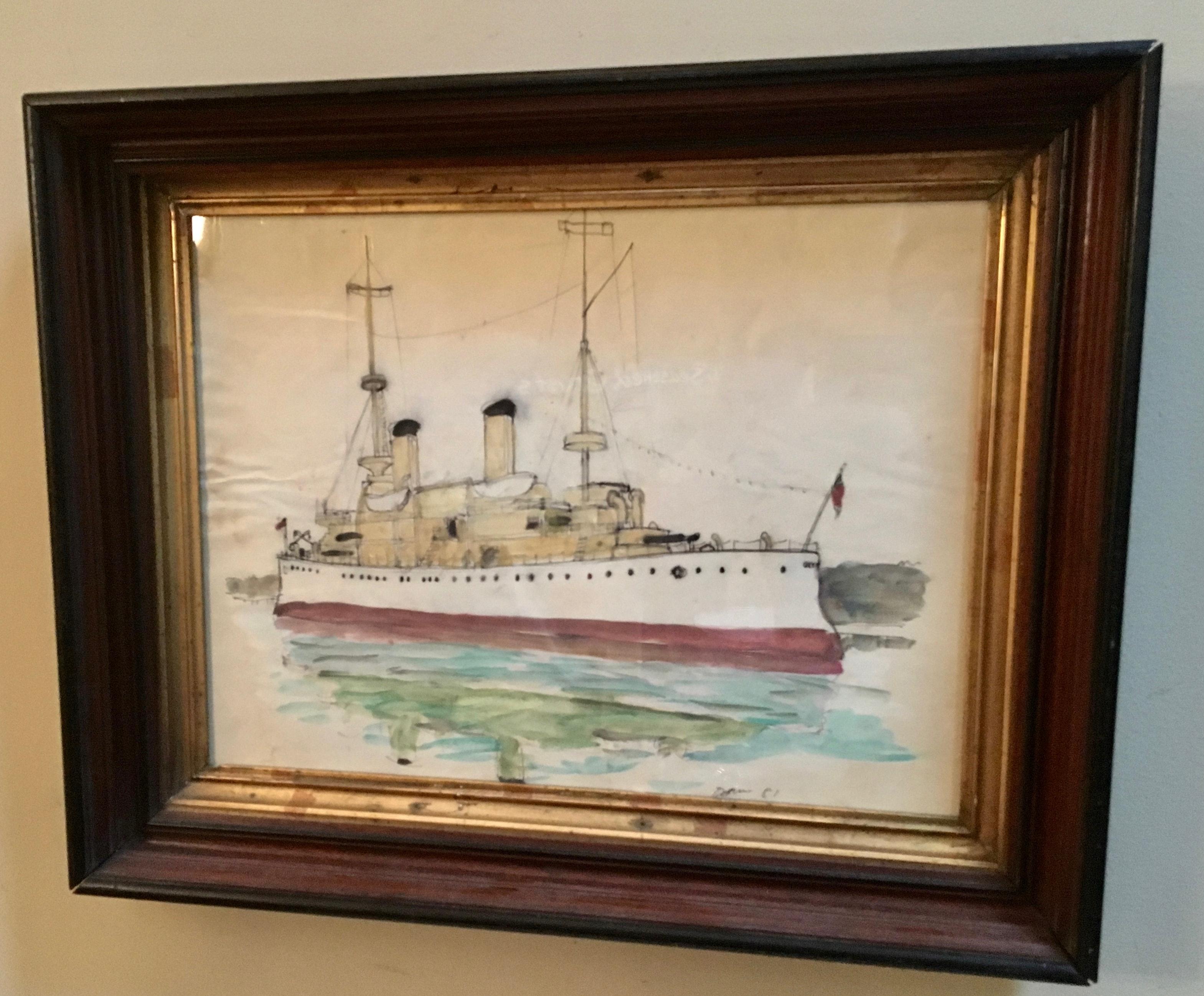 Watercolor Painting of Steamship in Vintage Walnut Frame