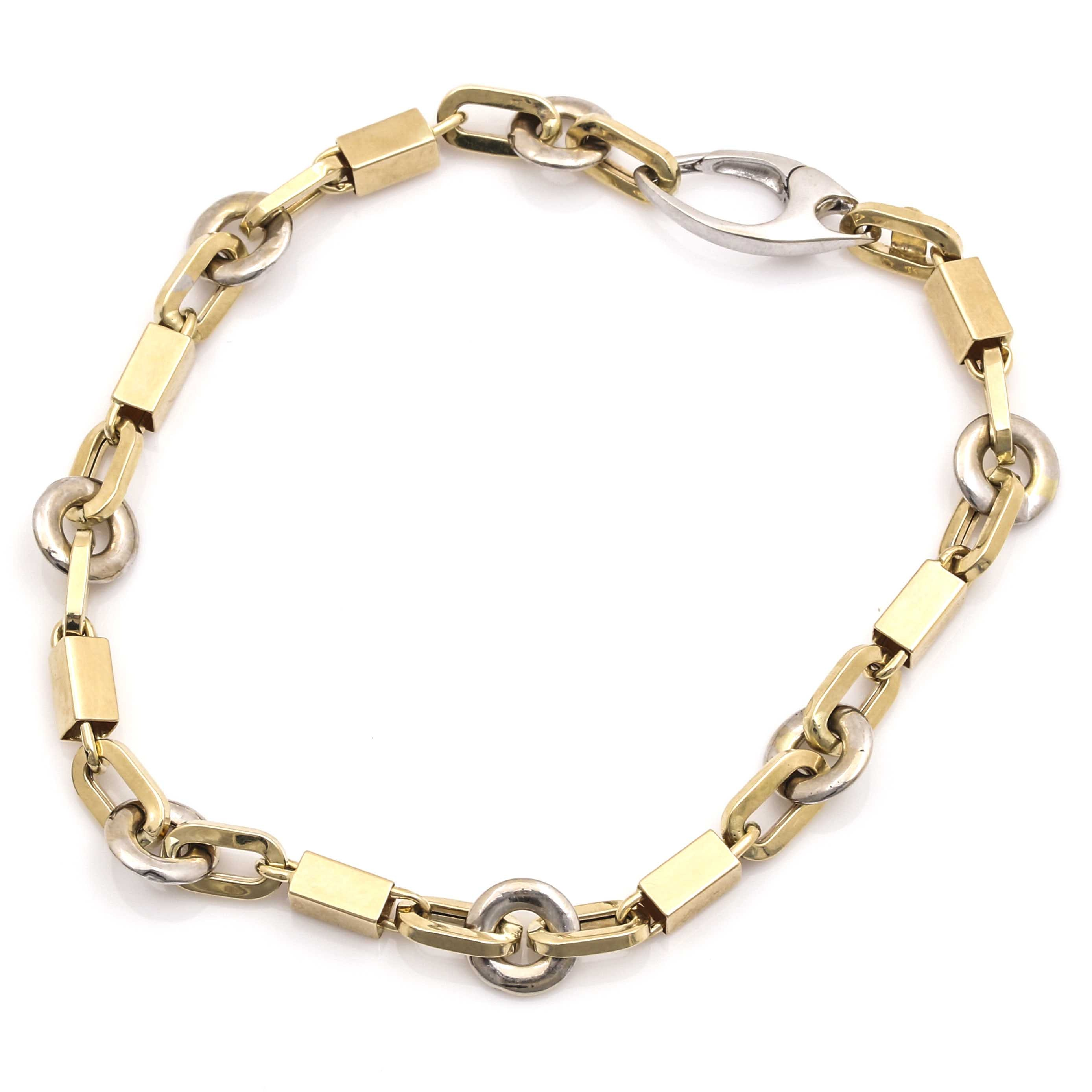 14K White and Yellow Gold Fancy Link Bracelet
