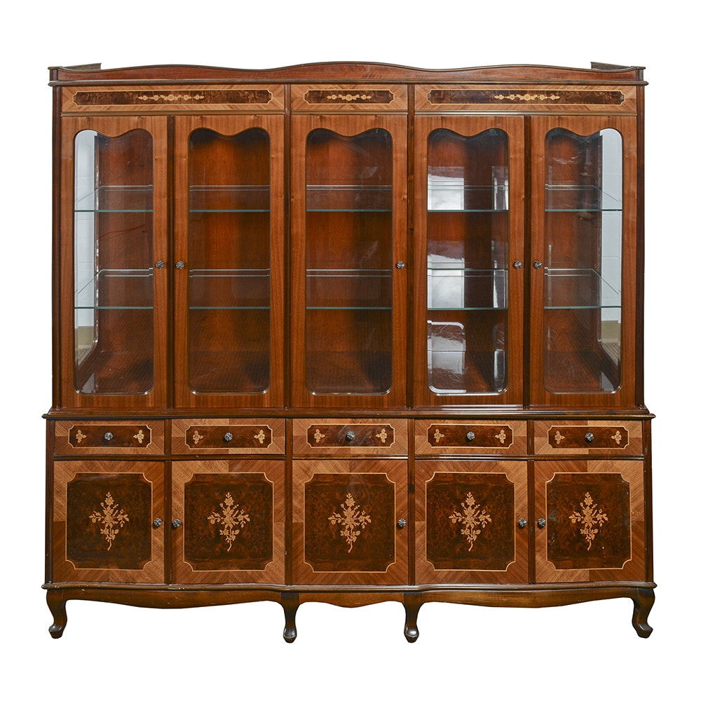 Substantial Hungarian Inlaid China Cabinet
