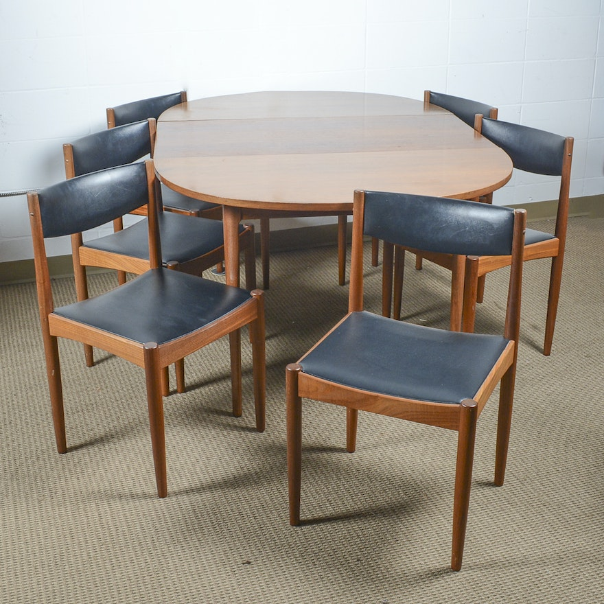 Vintage Danish Modern Teak Dining Table And Chairs