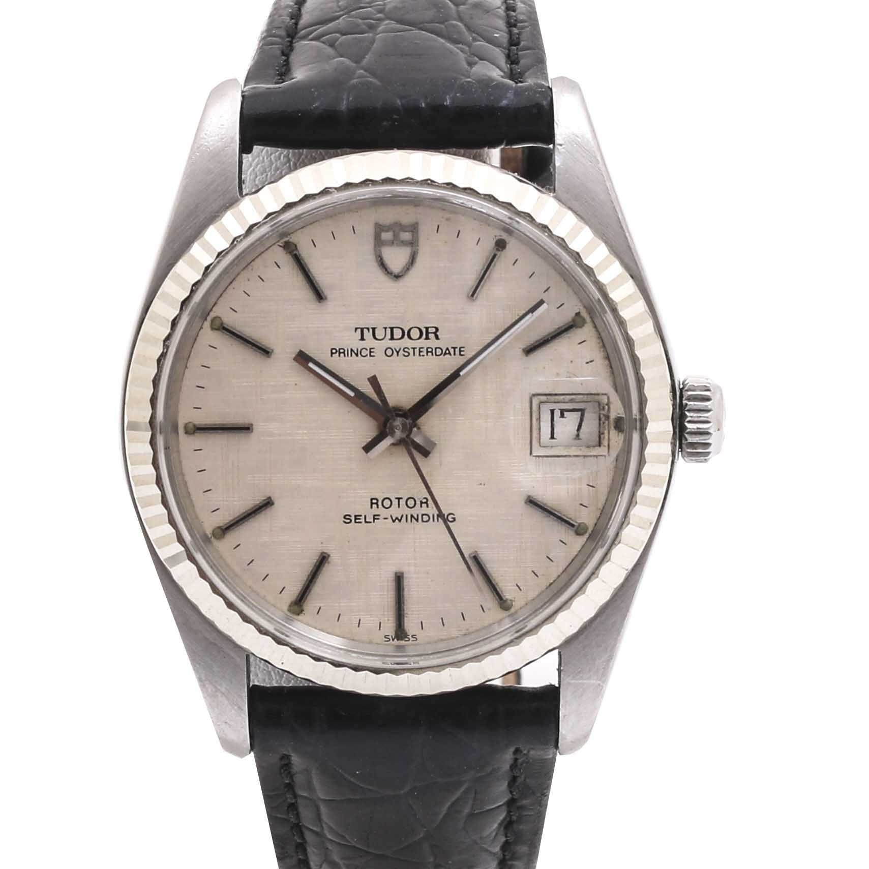 Tudor Prince Oysterdate Stainless Steel and Leather Wristwatch