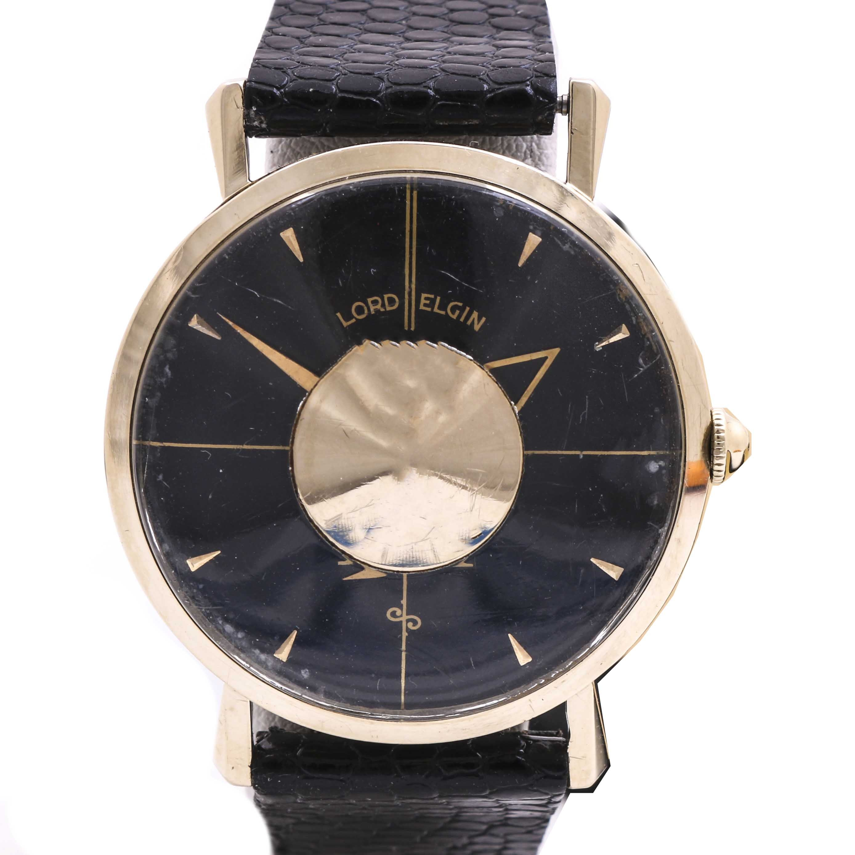 Lord Elgin 14K Yellow Gold Wristwatch and Leather Band