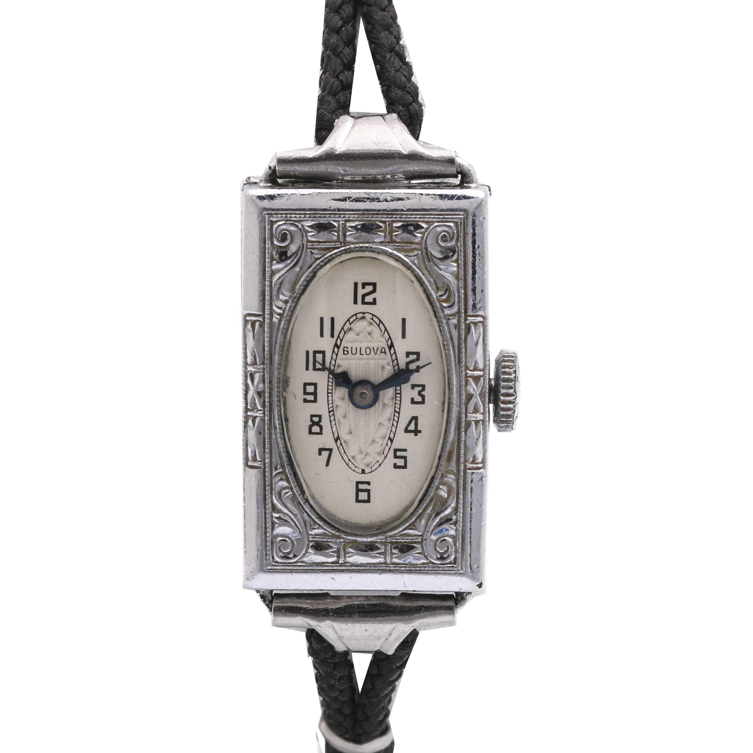 Bulova 14K White Gold Filled and Black Cord Wristwatch