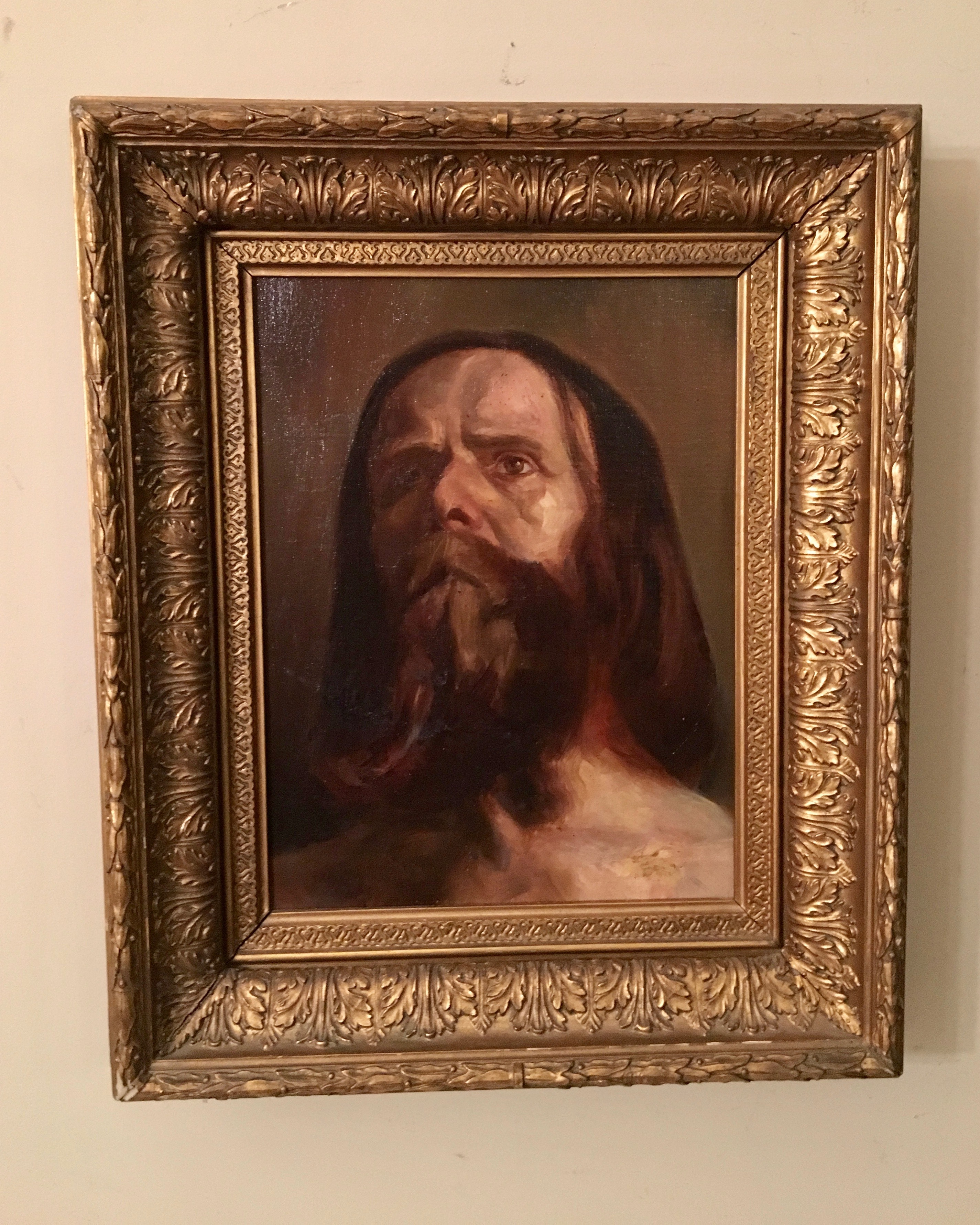 """Old Master"" Style Oil on Canvas of Bearded Man, c. 1900"