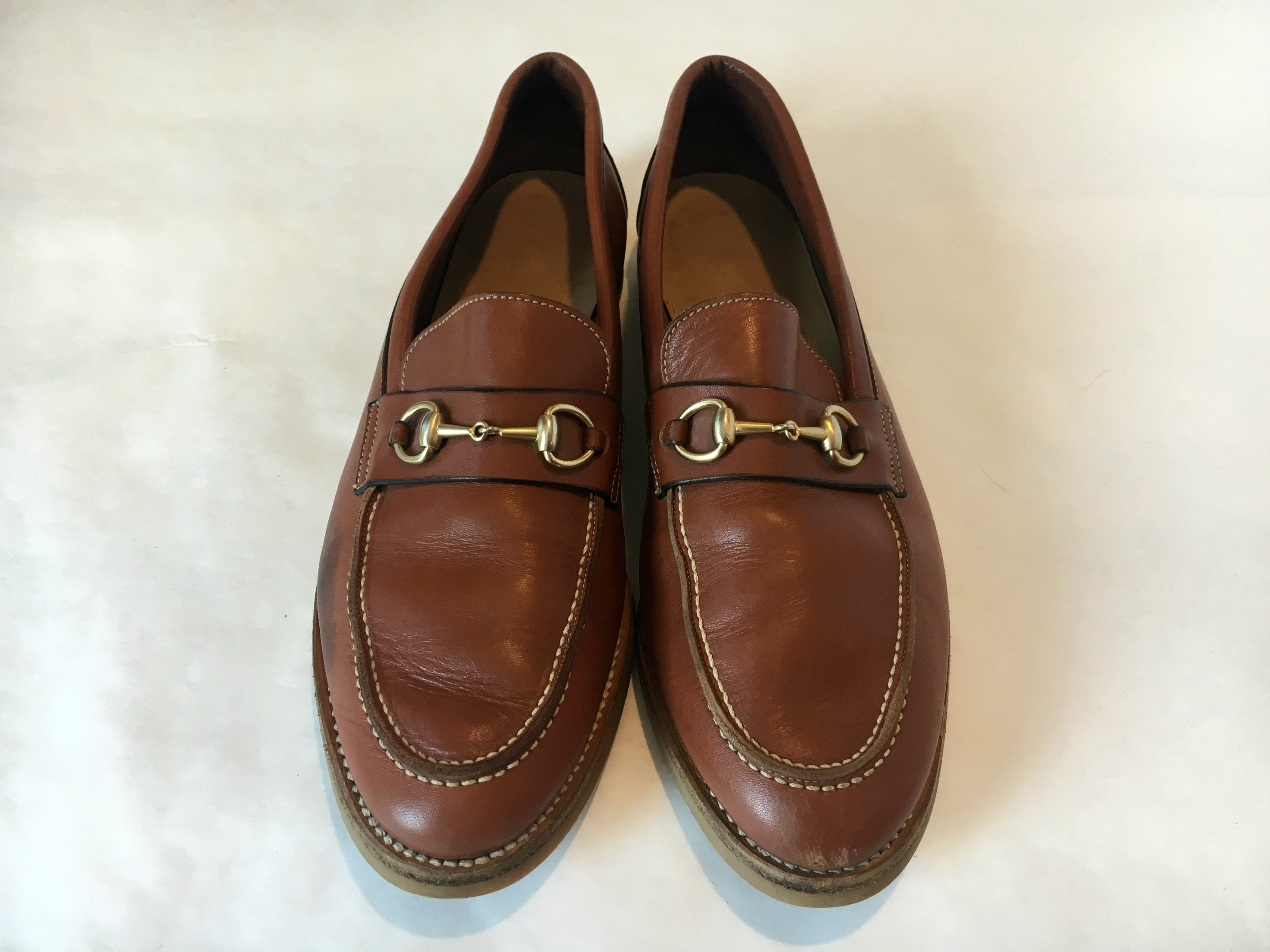 Gucci Cognac Leather Women's Horsebit Loafers
