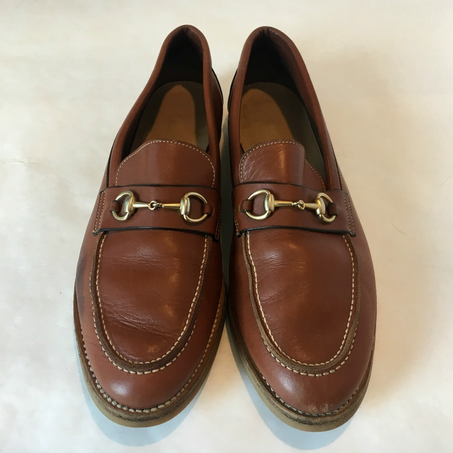 bec2310da6 Women's Gucci Cognac Leather Loafers : EBTH