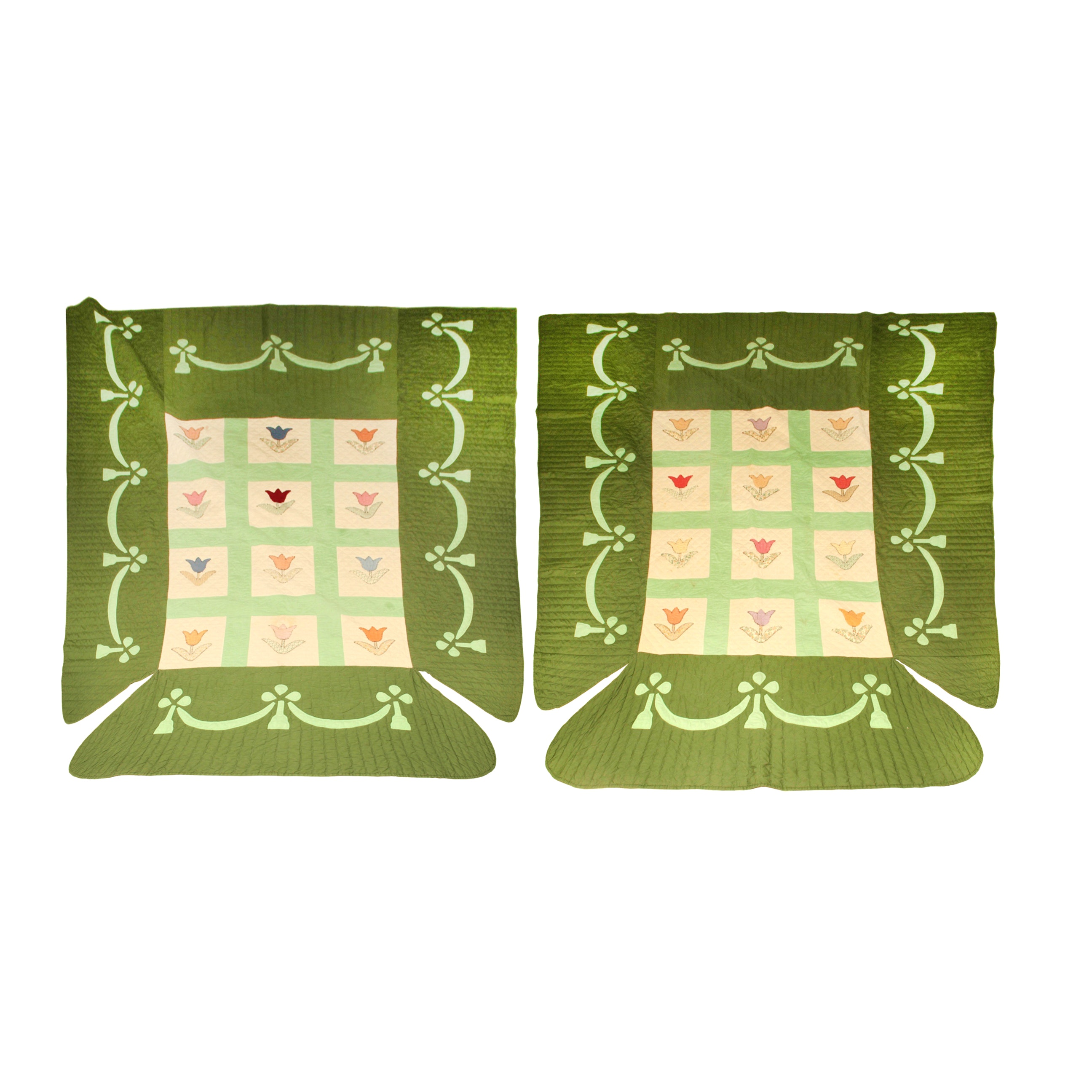 A Pair of Custom Hand Quilted Bed Spreads for a Poster Bed