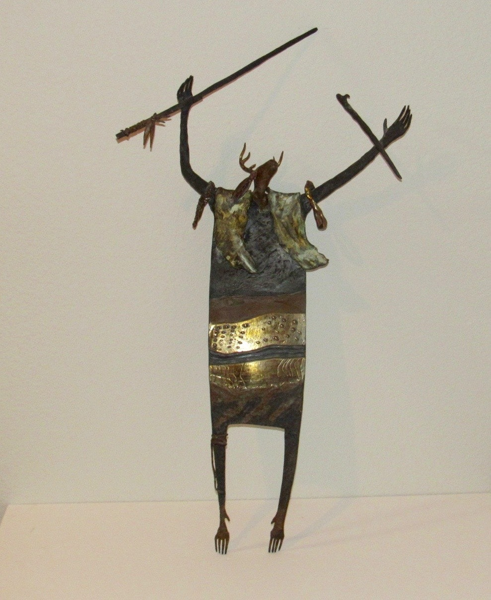 "Bill Worrell Sculpture ""Shaman and the Golden Ring of Forever"""