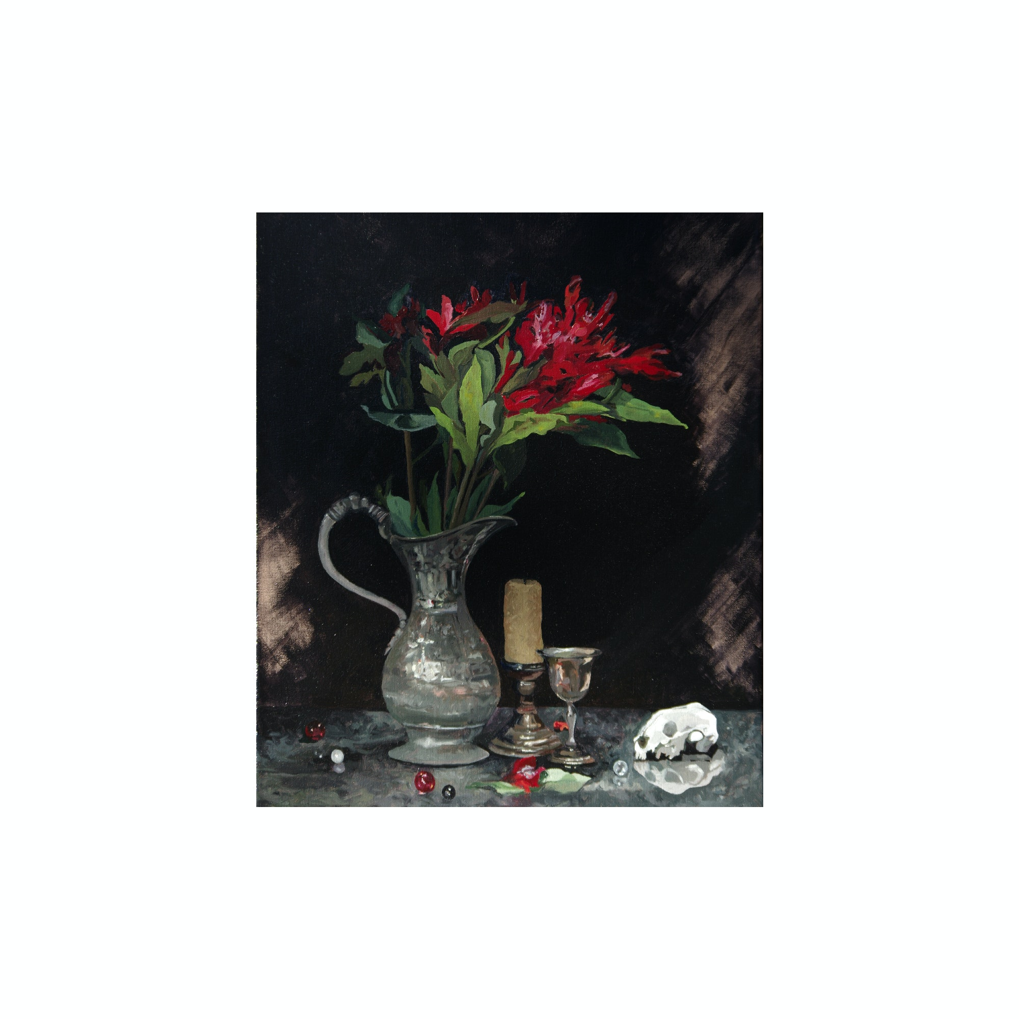 "Original Oil Painting on Canvas ""Still Life with Skull"""