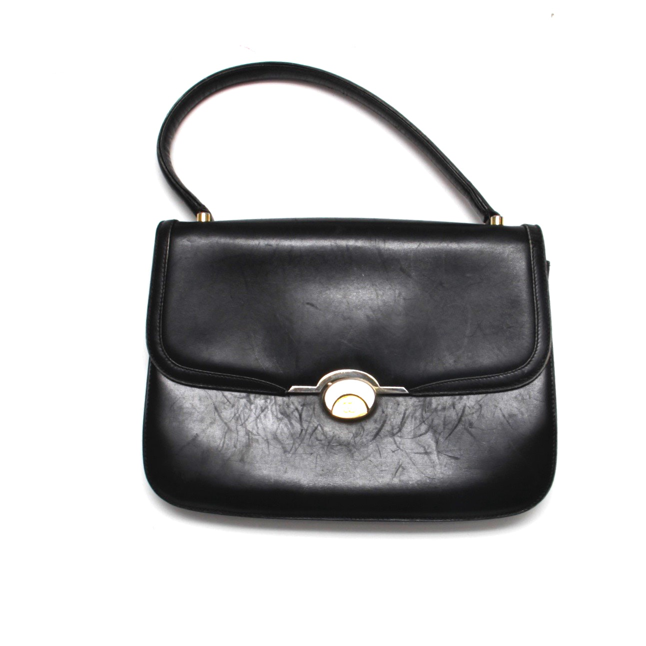 A Vintage Black Leather Gucci Bag