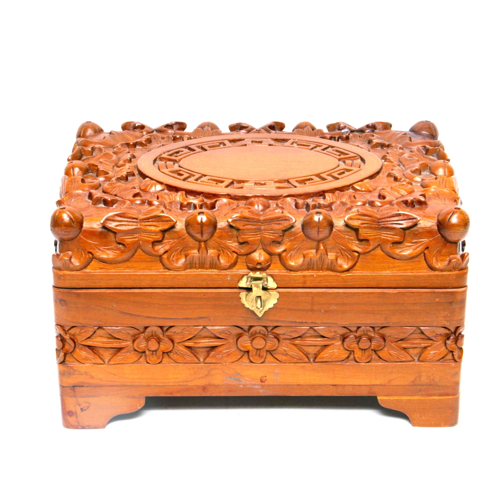 Carved Camphor Wood Jewelry Box