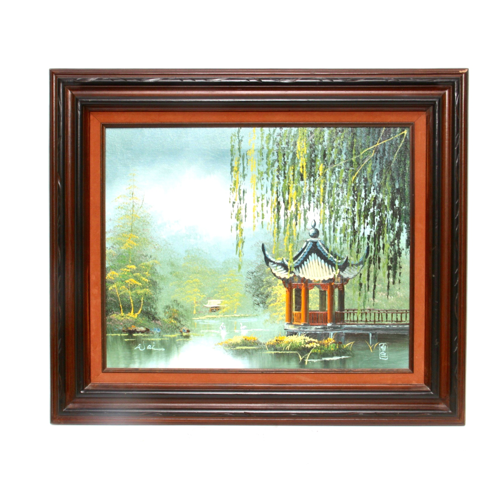 Acrylic Painting on Canvas of a Japanese Building Beside a Lake
