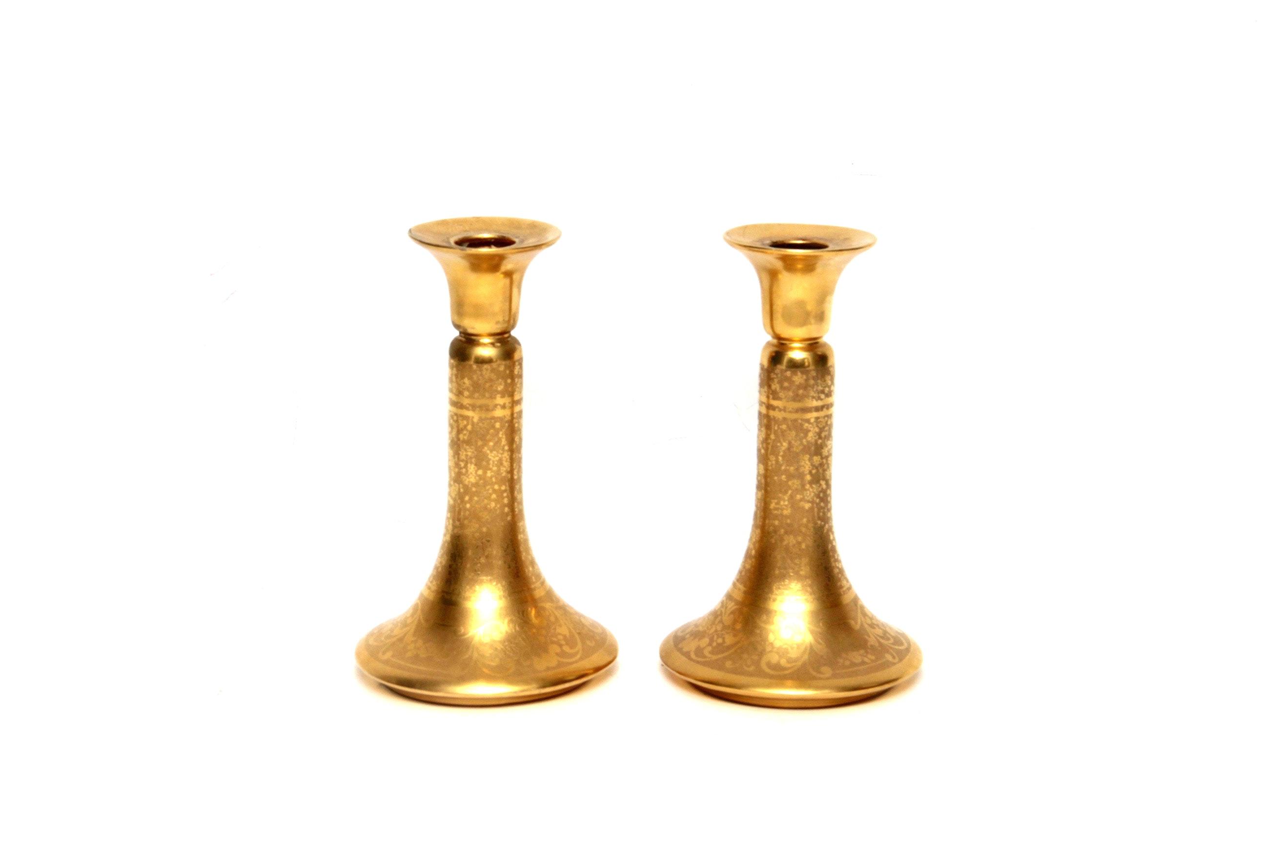 Pair of Gold Encrusted Candlesticks by Osborne Art Studio