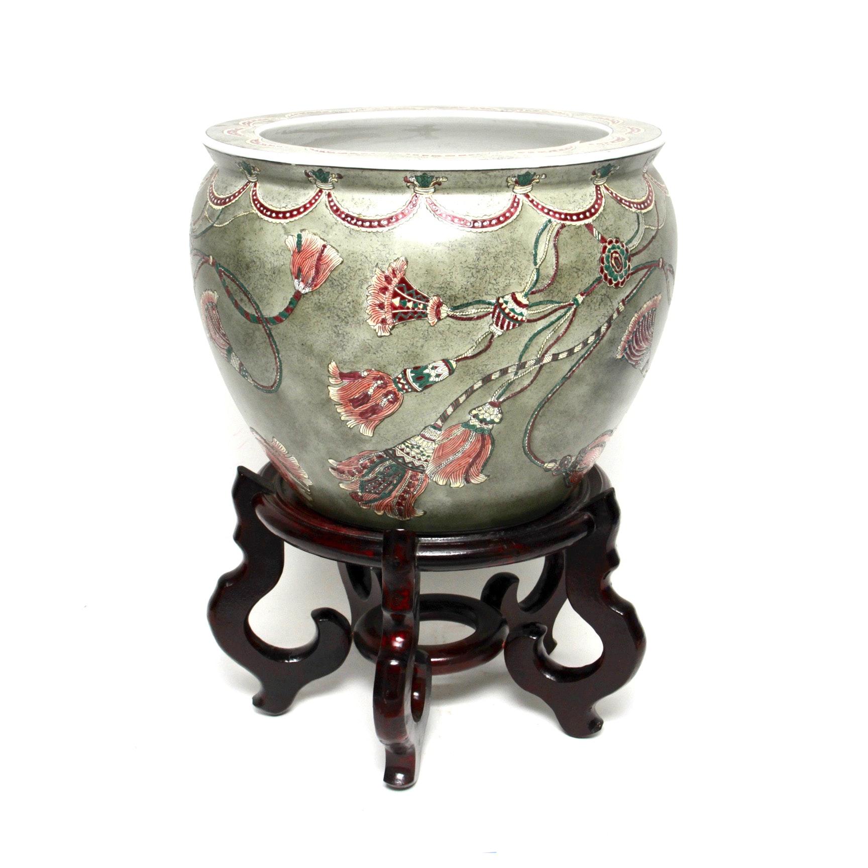 Ceramic Vase Including Wooden Stand