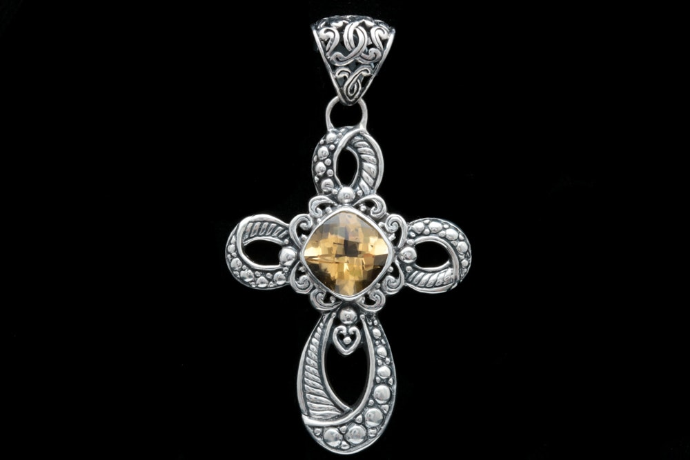Sterling Silver and Citrine Cross Pendant