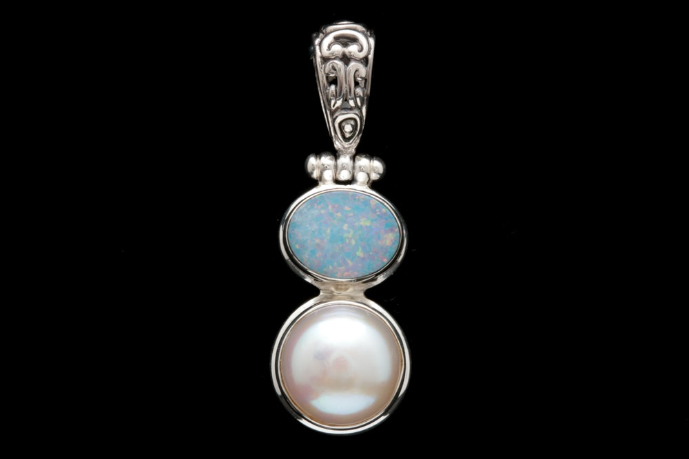 Sterling Silver, Pearl and Opal Doublet Pendant