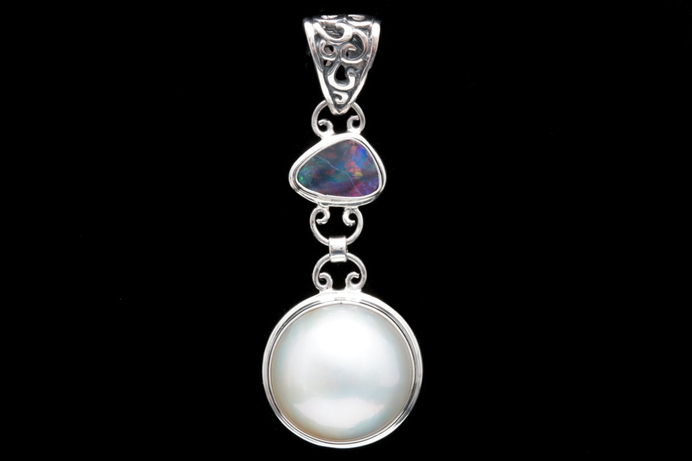 Sterling Silver, Mabé  Pearl and Opal Doublet Pendant