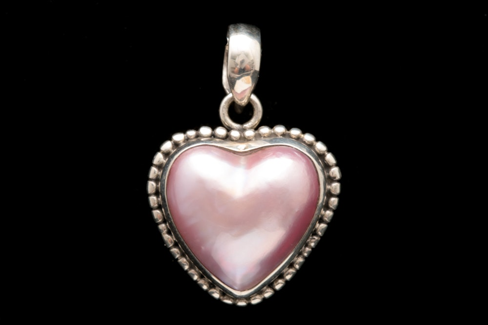 Sterling Silver, Pink Mabé Pearl Heart Pendant