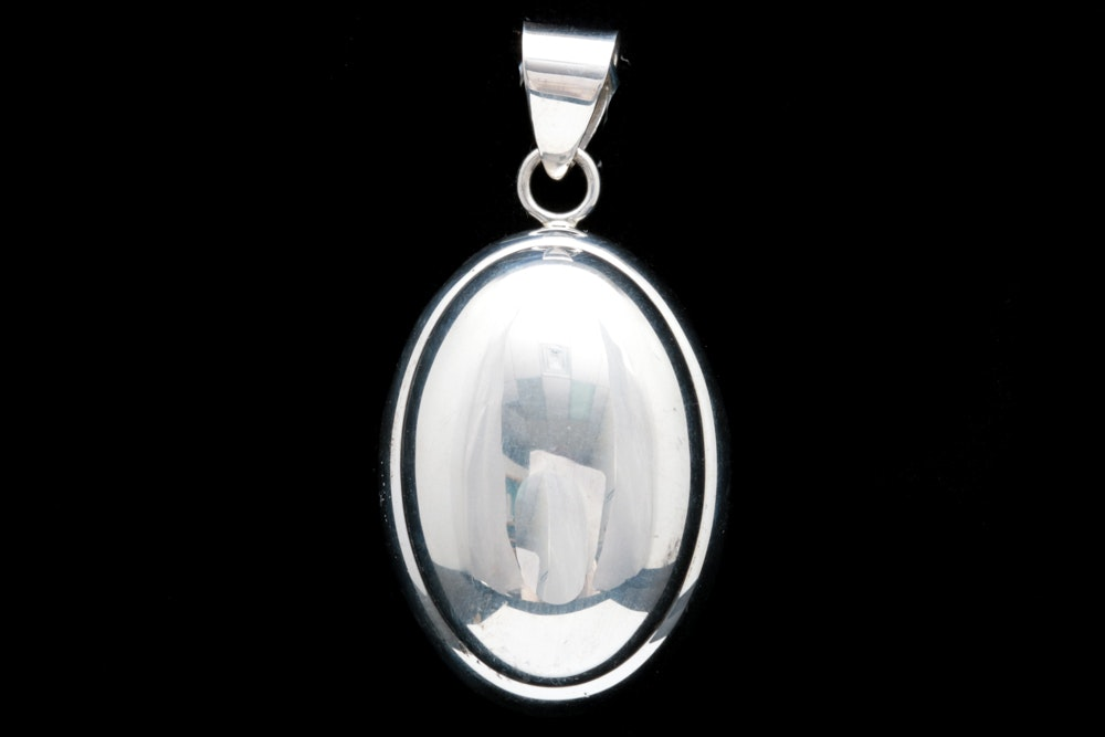 Sterling Silver Puffed Pendant