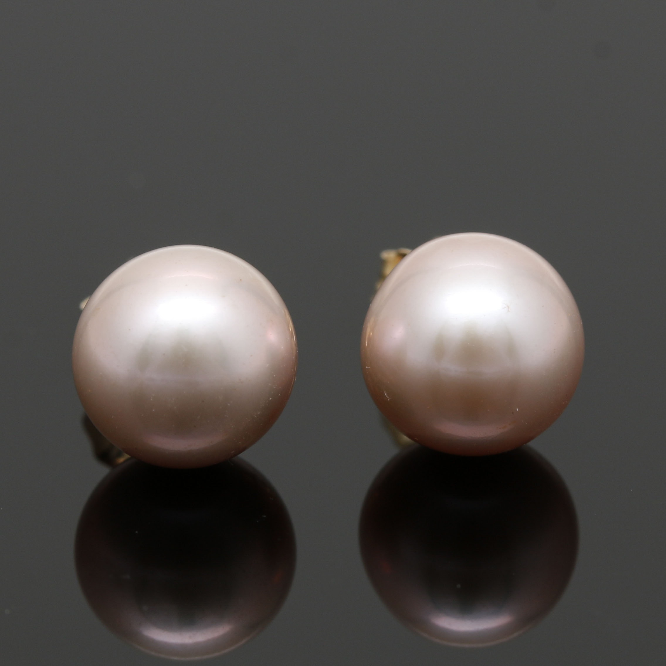 14K Yellow Gold Pink Cultured Pearl Stud Earrings